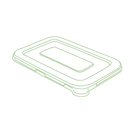 "7"" X 4.5"" FLAT LID FOR 12/16 OZ. RECTANGLE BOWLS"